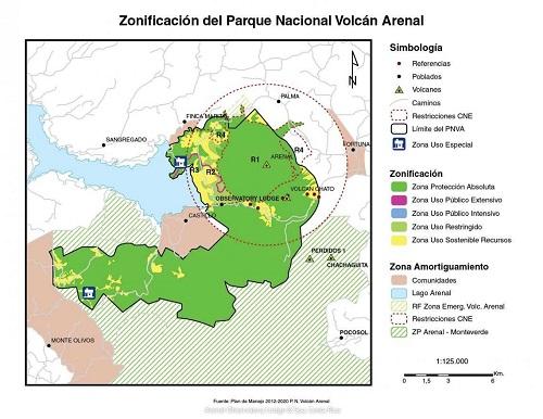Hôtels du volcan Arenal Costarica plan du parc national et l'Arenal Observatory lodge