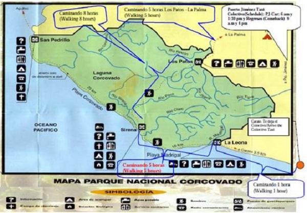 Carte du parc national de Corcovado, peninsule de Osa, Costa Rica