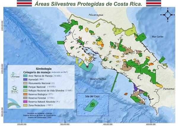 Carte du Costa Rica et de ses parcs nationaux.