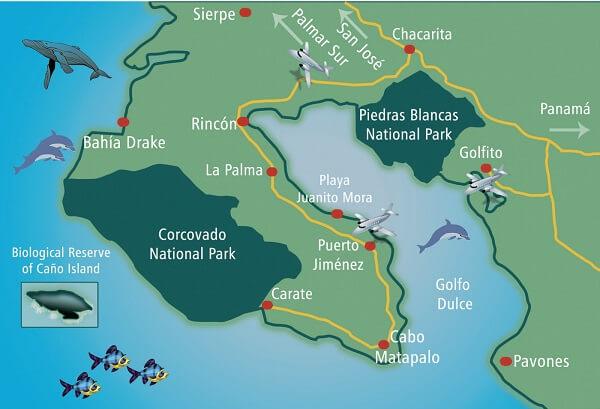 Séjour sur mesure au Costa Rica. Le parc national de Corcovado. Carte de la péninsule de Osa.